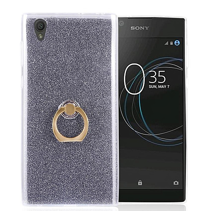on sale 27e2c fb6fc TPU Case For Sony Xperia L1 Flexible Soft Gel Cover Shiny Back With Ring  Grip/Stand Holder