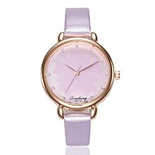 Jiuhap Store Women Fashion Leather Band Analog Quartz Round Wrist Watch Watches-Purple