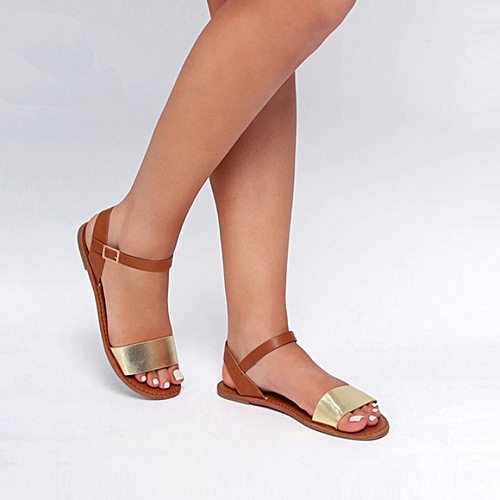 Stroll Girl Quality Women Sandals - Brown/Gold