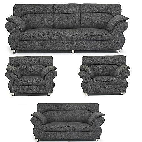 DOMILIVE SUPER GREY 7 Seaters Sofa + Free Ottoman.