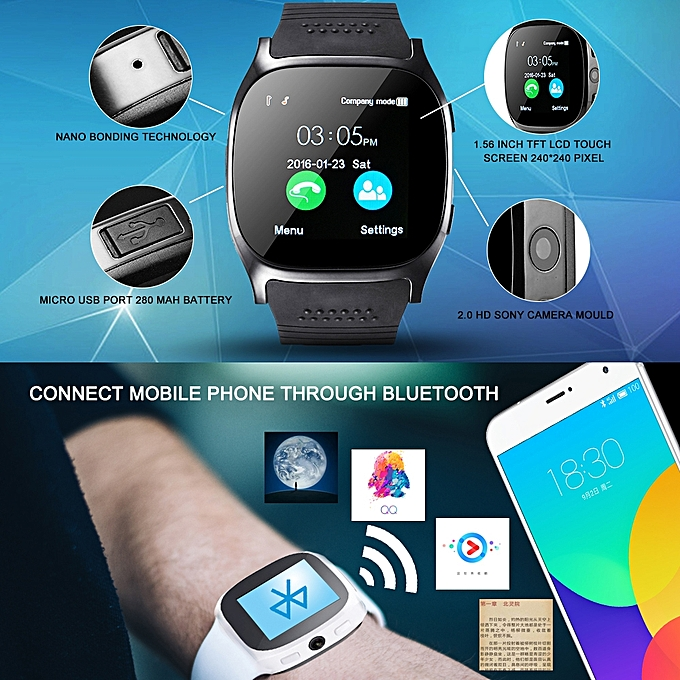 ... Bluetooth Smart Watch With Camera Facebook Whatsapp T8 Support SIM TF Card Call Smartwatch For Android ...
