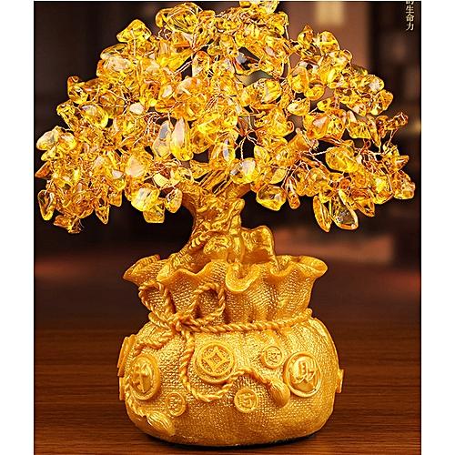 Golden Crystal Citrine Quartz Gemstone Bonsai Healing Reiki Lucky Money Fortune Tree Home Office Decorations Ornament Gifts