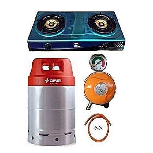 Gas Cylinder 12.5kg+GasCooker, Metered Regulator, Hose&Clips