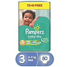 Baby Dry Diapers, Size 3, Jumbo Pack (80 Count)