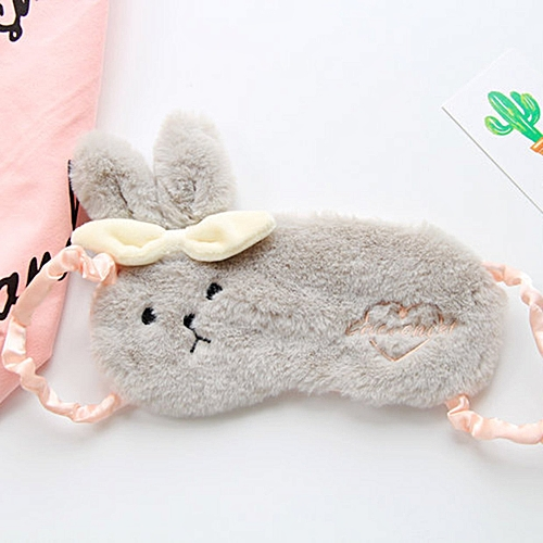 GB Cute Rabbit Sleep Eye Mask Breathable Soft Home Eyeshade Eyes Protecting Cover-gray