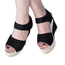 06732d179 Summer Bohemian Ladies Magic Tape High Heels Sandals-BLACK