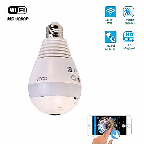 Security Camera Light Bulb Panoramic IP Camera, Eoqo Indoor /outdoor 1080P  360 Wide Angle Fisheye WiFi Security Camera With V380 APP Remote Control