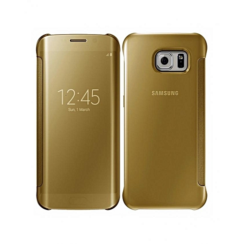 online store 6d103 d826a Clear View Flip Case Cover For Galaxy S6 Edge , Gold