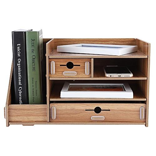 DIY Office Storage Box Wooden Files Rack Shelf Drawer Study Room Desktop Organizer