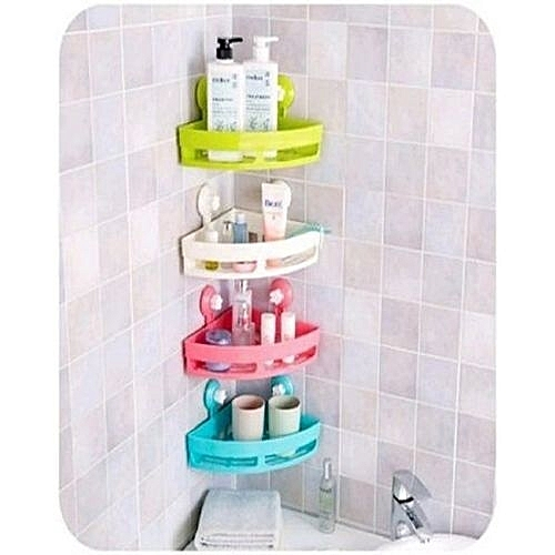 Generic Sucker Corner Shelf Bathroom & Kitchen Storage Rack - Any Colour