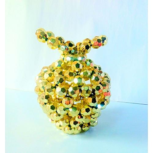 Beaded Flower Vase - Gold Apple Shaped