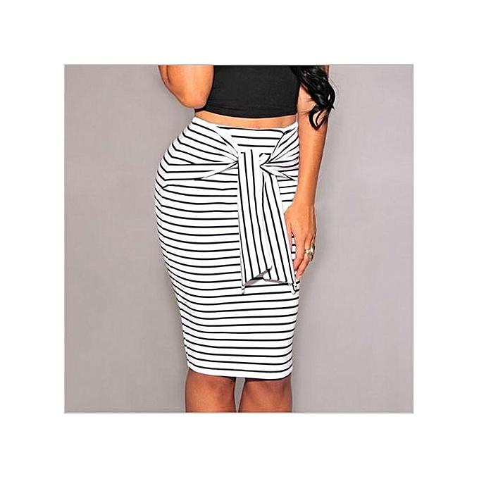 574297378 Women Elegant Plus Size High Waisted Black And White Striped Pencil Skirts  Bodycon Work Midi Skirts