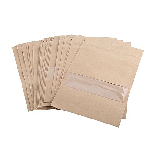 100pcs Kraft Paper Bag Pouch Stand Up Coffee Food Zip Lock Packaging Sealable Pouch With Window 14*22CM