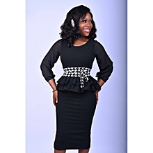 ad64e991f8 Black Double Peplum Dress With Check Snatched Waist Belt.