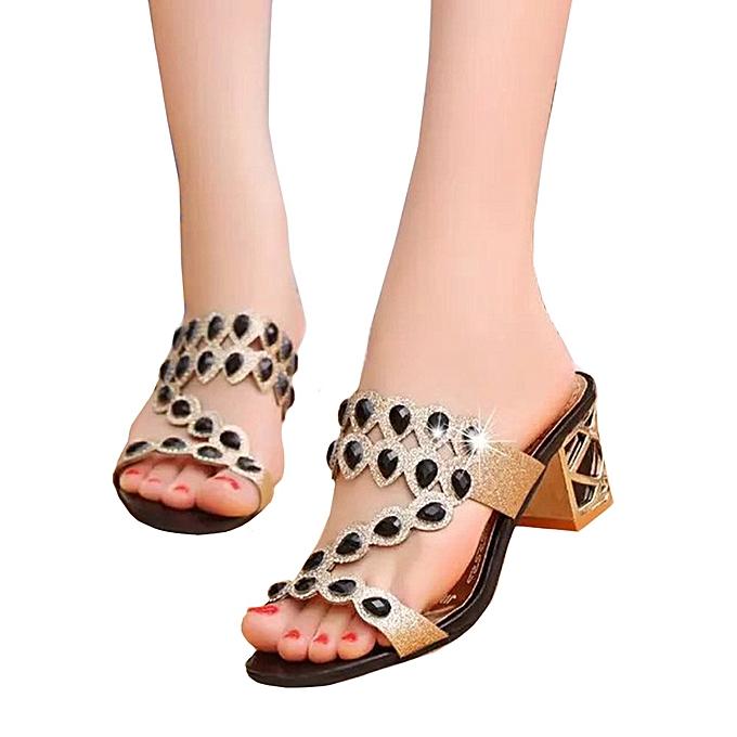 615709d2a4b108 ... Blicool Shop Women Sandals Summer Fashion Women Girl Big Rhinestone  High Heel Sandals Ladies Beach Sandal
