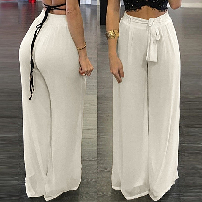 ZANZEA Women High Waist Palazzo Pants Wide Leg Loose Chiffon Long Pants Trousers