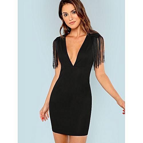 6214cde36e SHEIN Plunging Neck Fringe Embellished Bodycon Dress - Black | Jumia NG