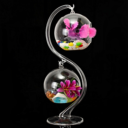 Hanging Glass Flower Plant Vases Hydroponic Container Terrarium + Stand Holder