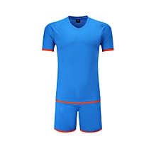 Men Soccer Football Jerseys Clothing Uniforms Suit Short Sleeve O-neck  Printing-Blue 504972a66