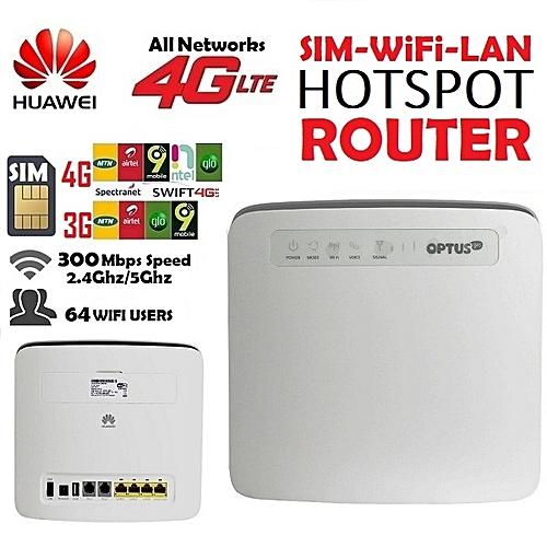 300Mbps 4G LTE 64 Users Internet Hotspot Router With SIM Slot/WiFi/4xLAN/USB Port For GLO_MTN_NTEL_AIRTEL_9MOBILE_SPECTRANET_SWIFT_BITFLUX