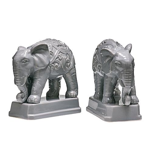 Ceramic Grey Elephant Bookends - Set Of 2