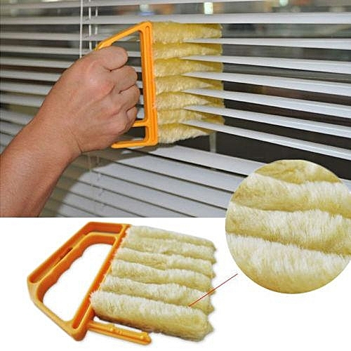 Shutters Window Blind Brush Dust Cleaner Orange With 7 Slat Handheld Household Tool