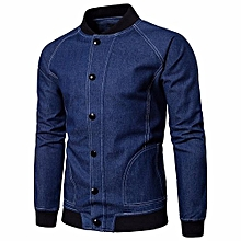 Men  039 s Autumn Cowboy Long Sleeved Denim Solid Fitted Jacket bb8d77dce