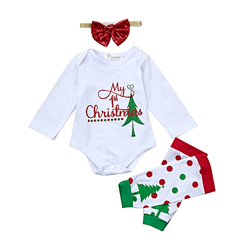 9d7332973 Fashion Baby Outfit Newborn Infant Baby Boy Girl Romper Tops+Leg Warmer  Christmas Outfits Set-White