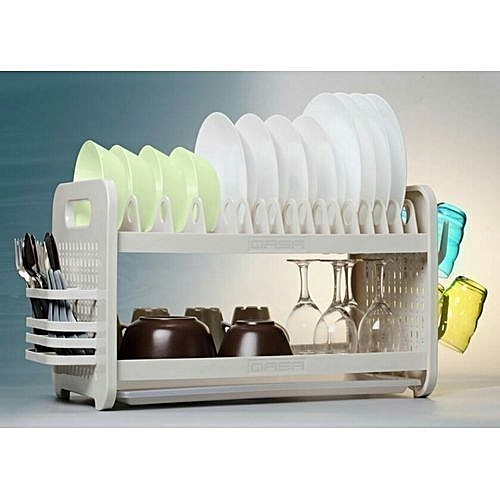New Rustless 2 Tier Plastic Dish Drainer And Plate Rack