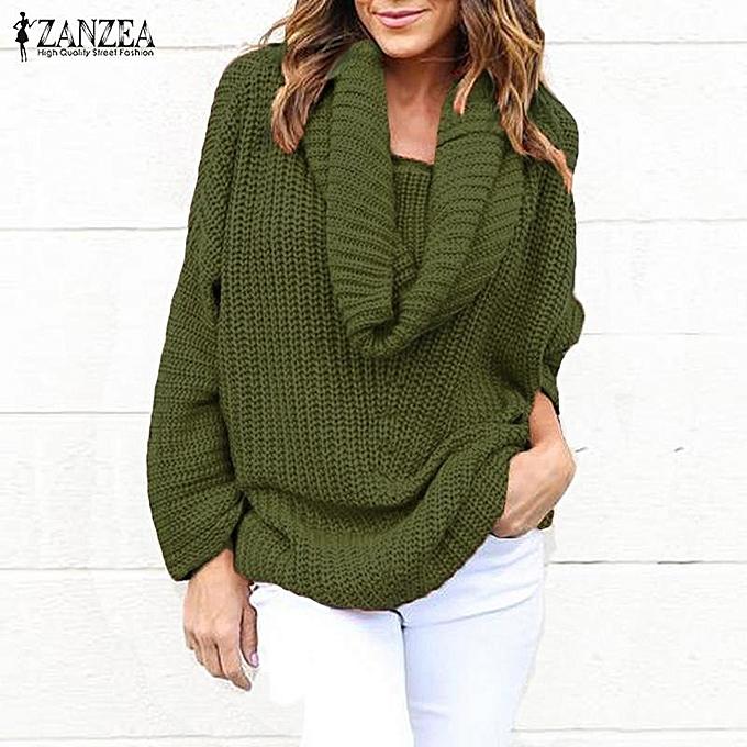 efe0c740f7317e ZANZEA Women Long Sleeve Cowl Neck Loose Sweaters Sweatshirt Jumper Tops ( Green)