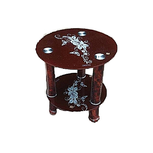 Tempered Glass Coffee Side Stool 03B- Brown