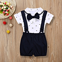 bfd56c321fec 2PCS Baby Infant Boys Short Sleeve Romper Clothes + Toddler Pants Set  Outfits