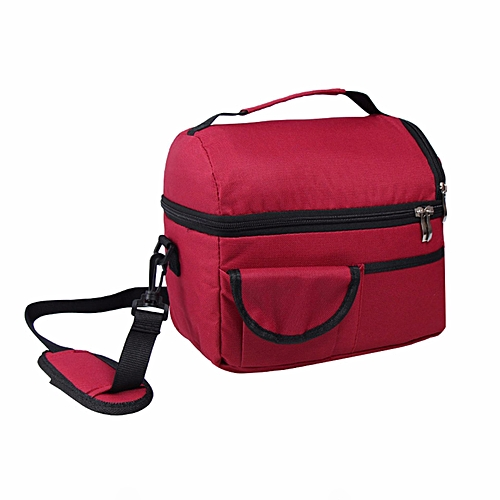 Insulated Portable Tote Work Picnic Travel Lunch Ice Bag Double Layer Burgandy