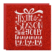 Buy Now 8 Pack Red Glitter Jolly Luxury Christmas Cards