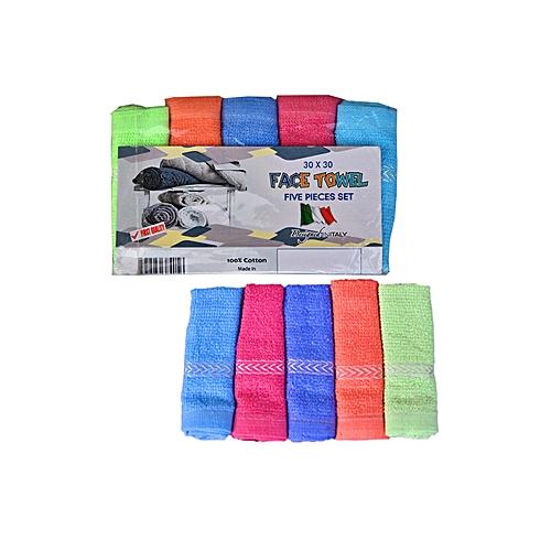 5 Pieces Set Of Face Towel - Multi ( 30 X 30 )