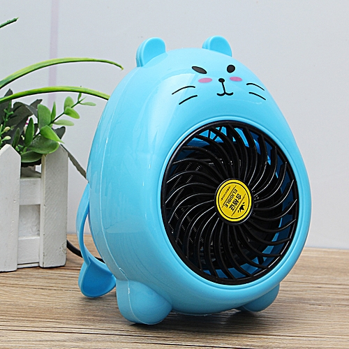 Mini Heater Fan Electric 400W Blue/Yellow Air Warmer Blower Wall-Outlet Handy
