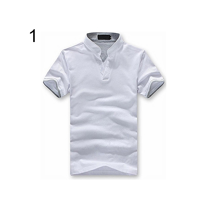 fa0100cf0 Men's Summer Short Sleeve Stand Collar T-shirt Fashion Casual Polo Shirt Tee  Top-