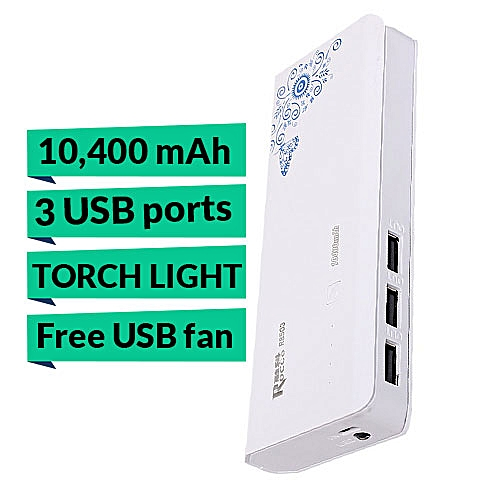 10,400mAh Fast Charging Tripple USB Port Power Bank With Touch Light + (Free Mini USB Fan)