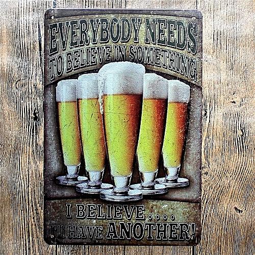 5PCS Bar Cafe Wall Decor Tail Beer Metal Poster Tin Sign Wall Hanging Home Decor