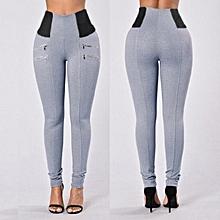 1e99fae02aa23 ZANZEA Plus Size Women High Waist Casual Splice Ladies Skinny Pants  Trousers Leggings (Grey)