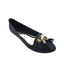 Jelly Flats With Tassels - Black