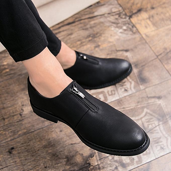 55a02ac589c Luxury Leather Men Business Dress Shoes Black Shoes Zipper