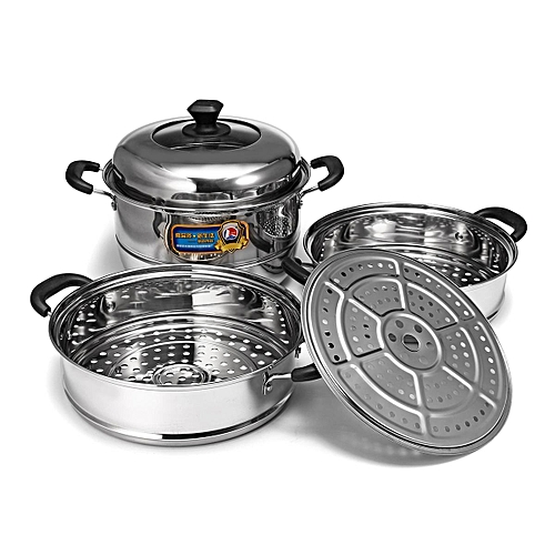 CONCORD Stainless Steel 3 Tier Steamer Steam Pot Cookware Avail In 3 Sizes [30cm]