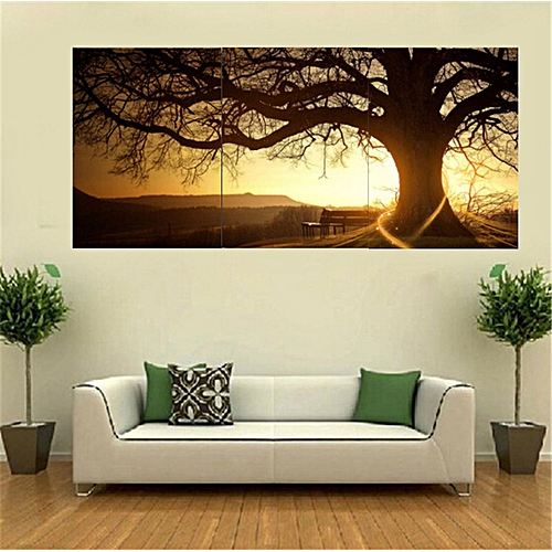 3 Panel Modern Printed Tree Painting Picture Cuadros Sunset Canvas Painting Wall Art Home Decor For Living Room No Frame PR157-Multi