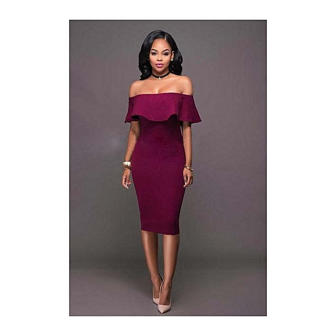 5e441018da67 Biloxa Ladies Off-Shoulder Pencil Cut Bodycon Dress - Red Violet ...