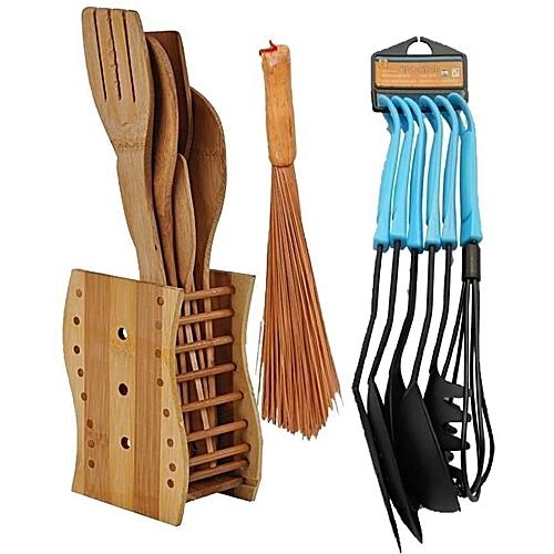 6 Pcs Of Kitchen Wooden Spoons + 6 Set Of Non-stick Spoons + Ewedu Broom