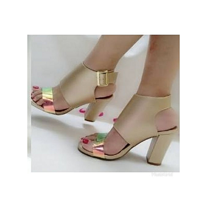 4e3abc7e41a Fashion Ladies Trendy And Classy Block Heeled Sandals - Gold