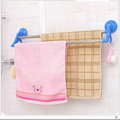 Kitchen Rack Bathroom Towel Hanger Double Rail Self Suck