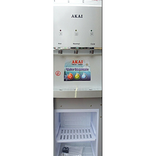 AKAI 3 Tap Water Dispenser With Fridge + Child-Lock Protection - Silver