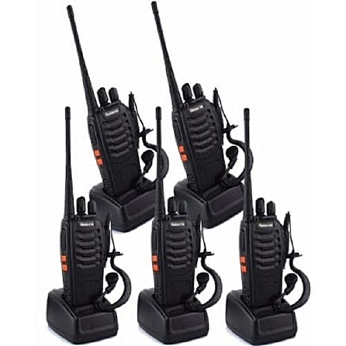 Baofeng 2-way Radio Walkie Talkie - Bf-888s - Uhf 5w 16ch With Earpiece - 5 Pieces - Black